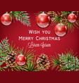 merry christmas watercolor card red vector image