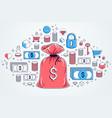 money bag and dollar icon set design savings or vector image vector image