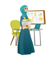 muslim business woman holding pile of folders vector image vector image