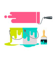 paint brush and bucket design isolate vector image