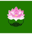 Pink stylized image of a lotus flower on a green vector image