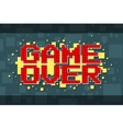 Pixel red game over screen on yellow background vector image vector image