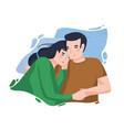 portrait romantic couple against blue blot on vector image