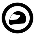 racing helmet icon black color in circle or round vector image vector image