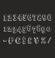 retro serif font numbers vector image
