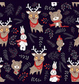 seamless pattern with cute bunny deer and bear in vector image vector image