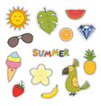 set cute summer stickers flower fruits parrot vector image vector image