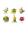 set superhero humanized characters fruit and vector image vector image