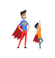 smiling super hero dad and his son spending time vector image vector image