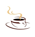 steaming hot cup aromatic coffee vector image vector image