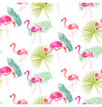 summer flamingo and palm tropic branches seamless vector image vector image