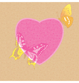 valentine card - decorative heart with butterflies vector image vector image