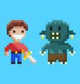 war between knight and geek pixel game vector image vector image