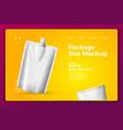white snack sachet on modern site template vector image