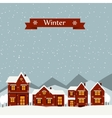 Winter landscape with cartoon houses vector image