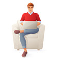 young man with laptop isolated image vector image vector image