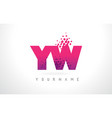 yw y w letter logo with pink purple color and vector image vector image
