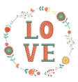 Elegant card with Love word in wreath vector image