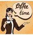 Beautiful woman drinks coffee vector image