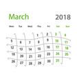 2018 funny original grid march creative calendar vector image vector image
