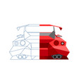 abstract sports car line design drawing half vector image vector image