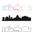 Ancona skyline linear style with rainbow vector image vector image