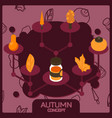 autumn color concept isometric icons vector image vector image