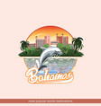 bahamas with a playing dolphin vector image