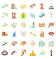 big construction icons set cartoon style vector image vector image