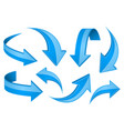 blue shiny 3d arrows bent curved signs vector image vector image