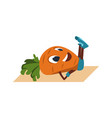cartoon carrot doing exercise sport activity in vector image vector image