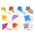 cartoon kites wind flying toy with ribbon and vector image