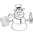 Cartoon snowman holding a paper and pencil vector image vector image