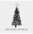 christmas tree stamp snow slogan merry vector image vector image