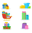 colorful present boxes on white background vector image