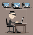 Computer hacker in a mask vector image