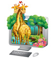 Computer screen with two giraffe hugging vector image