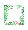 creative square frame of green tropical leaves and vector image