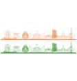 famous indian monument and landmark like taj mahal vector image vector image