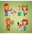 Farmers Purchases Equipment for Gardening vector image vector image