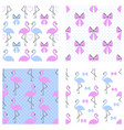 Flamingo seamless pattern set