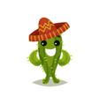 funny green cactus in mexican sombrero humanized vector image vector image