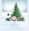 holiday background with a christmas tree and gift vector image vector image