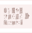 houses and trees vintage style brown lines vector image