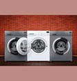 laundry room of brick wall and washing machines vector image