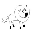 lion cartoon in black dotted contour vector image vector image