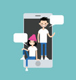 mobile messenger concept millennial friends vector image vector image