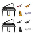 musical instrument cartoonblack icons in set vector image vector image
