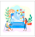office workers in touch with the world online vector image