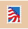 Postage stamp with the American flag vector image